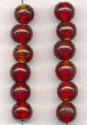 9mm Ruby Glass Beads
