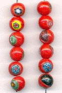 9mm Multi-Color Milifore' Glass Beads