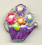 45x43mm Watering Can Brooch - Purple