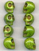 18x14mm Bright Green Skull Beads