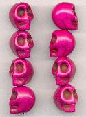 18x14mm Deep Fuchsia Skull Beads