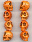 18x14mm Light Orange Skull Beads
