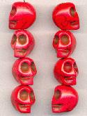 18x14mm Bright Red Magnesite Skull Beads