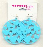 48mm Turquoise Enameled Hearts Ear Wires