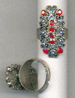 AS Adjustable Ring w/ Sapp/Ruby AB RS