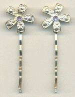 2 1/4'' x 3/4'' MS Flower Bobby Pin w/RS