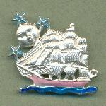 36x42mm MS Enameled Ship Brooch w/Loop