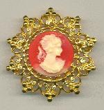 36mm GP Coral Cameo Brooch