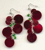 Red Sequin and Green Bead Earrings