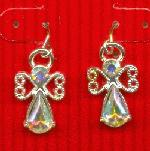 21x12mm Silver AB RS Angel Earrings
