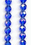 8mm Sapphire/Luster Faceted Glass Beads