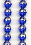 10mm Sapphire/Luster Faceted Glass Beads