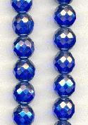 12mm Sapphire/Luster Faceted Glass Beads