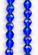 8mm Sapphire Faceted Glass Beads