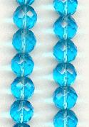 10mm Aqua Faceted Glass Beads