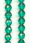 8mm Emerald Faceted Glass Beads