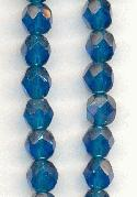 6mm Cerulean/Luster Faceted Glass Beads