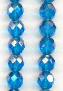 8mm Capri/Luster Faceted Glass Beads
