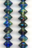 14x10mm Jet/Sapphire AB Faceted Bicones