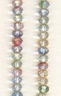 5x3mm Faceted Glass Donut Beads - Pastel