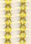 8mm Light Topaz Faceted Glass Beads