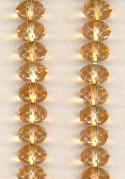 9x6mm Peach Faceted Glass Donut Beads