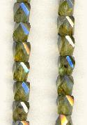 7mm Olive/Luster Faceted Glass Beads