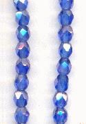 4mm Sapphire/Luster Glass Beads