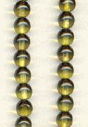 6mm Dark Olive/Lt Topaz Glass Beads