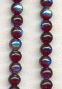 6mm Garnet/AB Round Glass Beads