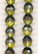 10mm Dark Olive/Jonquil Glass Beads