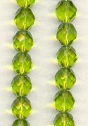 8mm Olive Faceted Glass Beads
