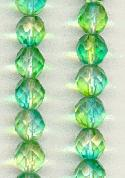 8mm Lime Green/Aqua Faceted Glass Beads