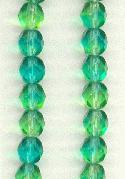 6mm Green/Teal Faceted Glass Beads