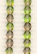 6mm Olivine/Lt Amy Faceted Glass Beads