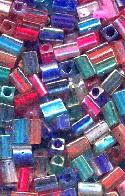 5x3mm Color Lined Rectangle Beads