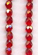 4mm Ruby Luster Faceted Glass Bead
