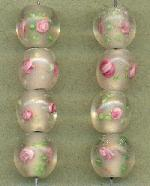 12mm Clear/Pink Floral Lampwork Beads