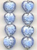 14mm Blue/Silver Foil Heart Beads