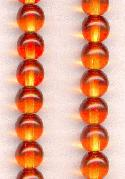 6mm Orange/Topaz Round Glass Beads
