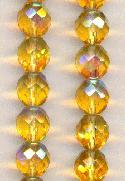 10mm Topaz/AB Faceted Glass Beads