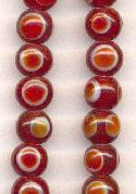 8mm Red/Orange Indian Glass Beads