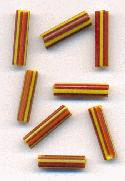 16x4mm Red/Yellow Bugle Beads