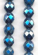 8mm Opaque Metallic Blue Glass Beads