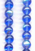 6mm Sapphire AB Pressed Glass Beads