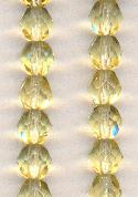 6mm Light Topaz Faceted Glass Beads