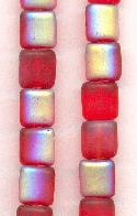 8mm Frosted Red/AB Square Beads