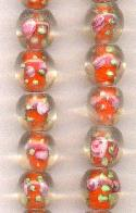 12mm Clear/Orange Floral Lampwork Beads