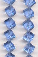 9mm Blue Glass Cube Beads
