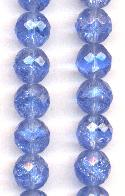 12mm Light Sapphire Crackle Glass Beads